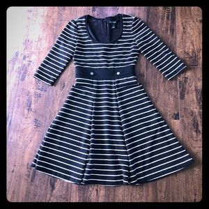 WHBM Fit And Flare Striped Dress